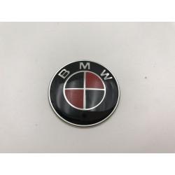 EMBLEMA VOLANTE BMW Negro y Rojo Carbono 45 mm