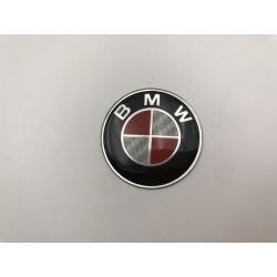 EMBLEMA VOLANTE BMW Blanco y Rojo Carbono 45 mm
